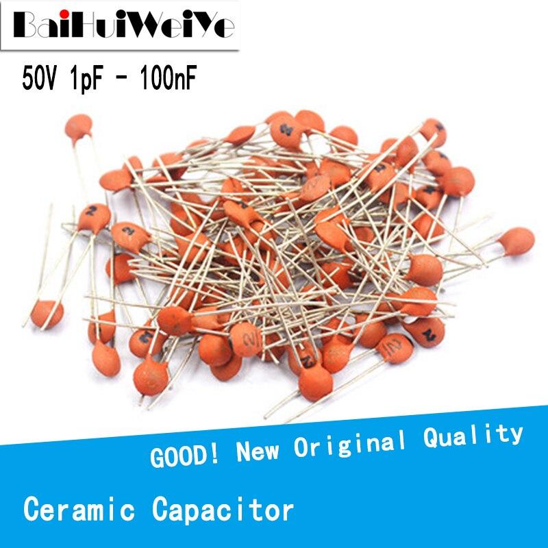 100PCS/LOTE 50V Ceramic Capacitor 1pF ~ 100nF 0.1uF 104 4.7PF 10PF 22PF 33PF 47PF 100PF 101 220PF 221 330PF 470PF 1NF 103 47NF