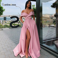 Elegant Prom Dress Satin A Line Off The Shoulder Split Long Evening Formal Party Gowns 2020 Bbonlinedress Nes Vestido de festa