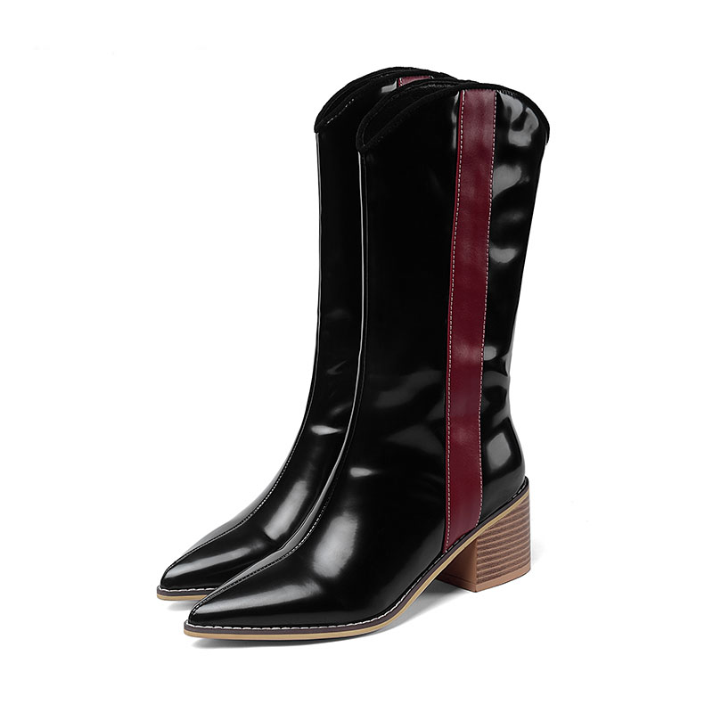 Brand Women Boots Pointed Toe Square Heel Shoes 2019 New Autumn Winter Boots Short Ladies Western Mid-calf Boots for Women Shoes