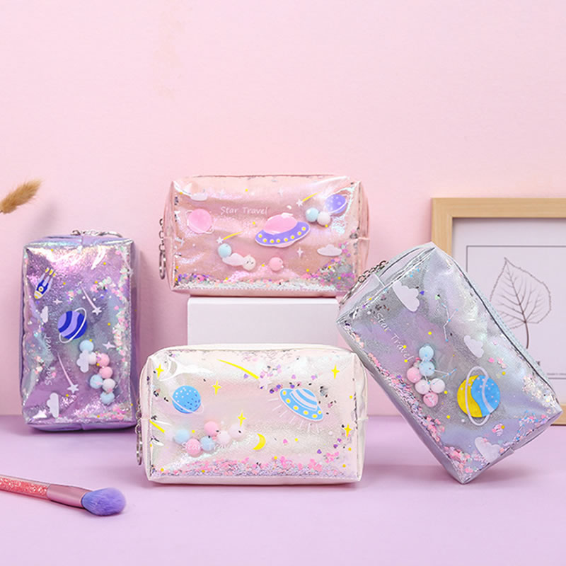 Fashion Laser Sequin Quicksand Makeup Bag Women Travel Portable Zipper Cosmetic Organizer Storage Make Up Beauty Wash Pouch Case