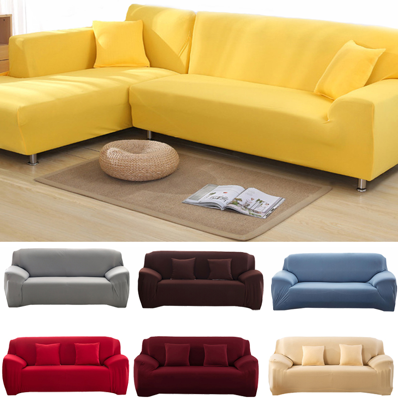 22 Colors Sofa Covers Solid Color Spandex Modern Stretchable Elastic L Shape Sofa Cover