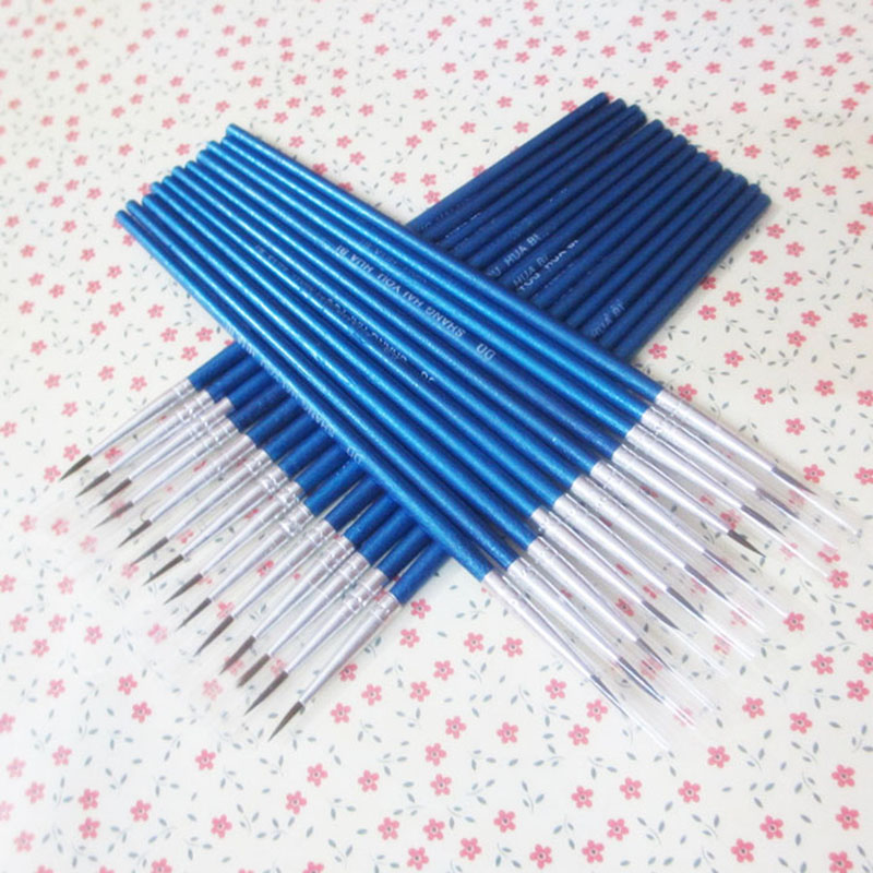 10Pcs/Set Fine Hand-painted Thin Hook Line Pen blue Baton Drawing Art Pen Paint Brush Art Supplies Nylon Brush Special Offer