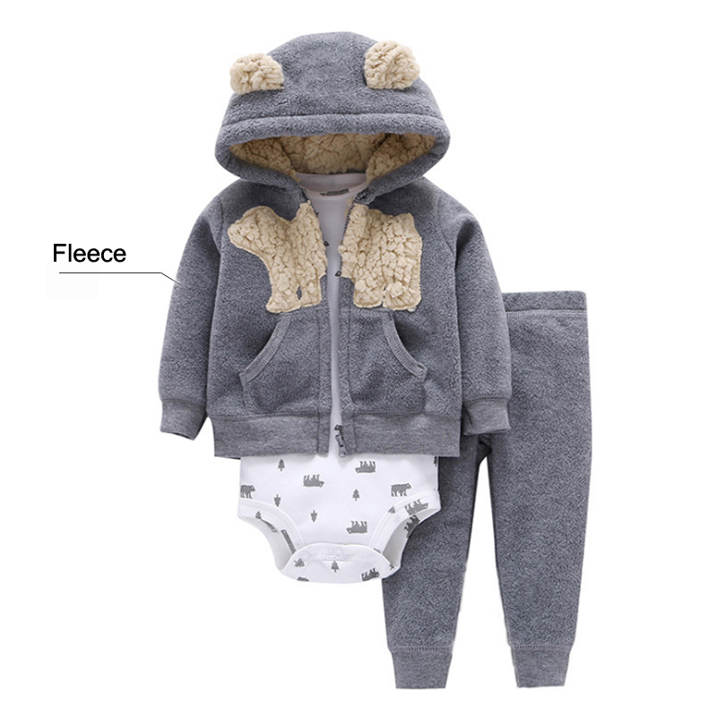 3 Pcs Baby Girls Clothing Sets 2019 Fall Winter Brand Fleece Baby Clothes Cartoon Bear Coat Sweater+Pants+Romper Outfits Sets