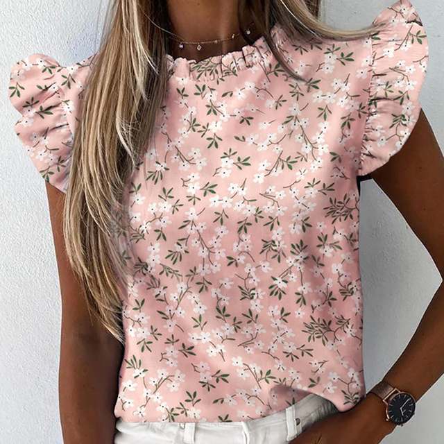 Women Floral Ruffle Blouse  Butterfly Sleeve Elegant Lady Tops