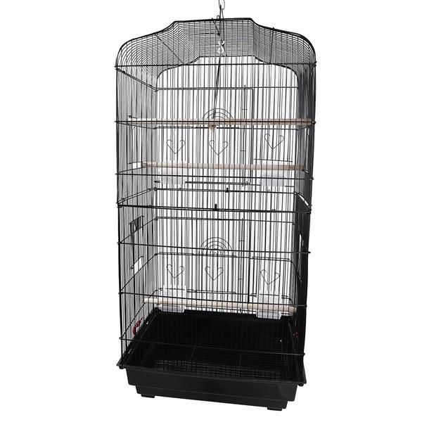 """37"""" Bird Parrot Cage Canary Parakeet Cockatiel LoveBird Finch Bird Cage with Wood Perches & Food Cups Black 4"""