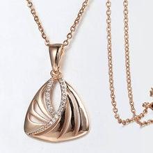 Colgante triangular de cristal para mujer, collares con cadena de oro rosa 585, alas talladas de circón cúbico para mujer, regalo de fiesta de boda GP412
