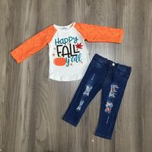 Nuevas llegadas otoño/invierno Bebé niñas feliz otoño yall calabaza Jeans de manga larga top niños ropa boutique pantalones trajes conjunto