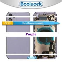 Para o iphone 11 pro max/11/11pro com cabo flexível de volta habitação cobertura da bateria montagem completa porta traseira quadro médio chassi vidro