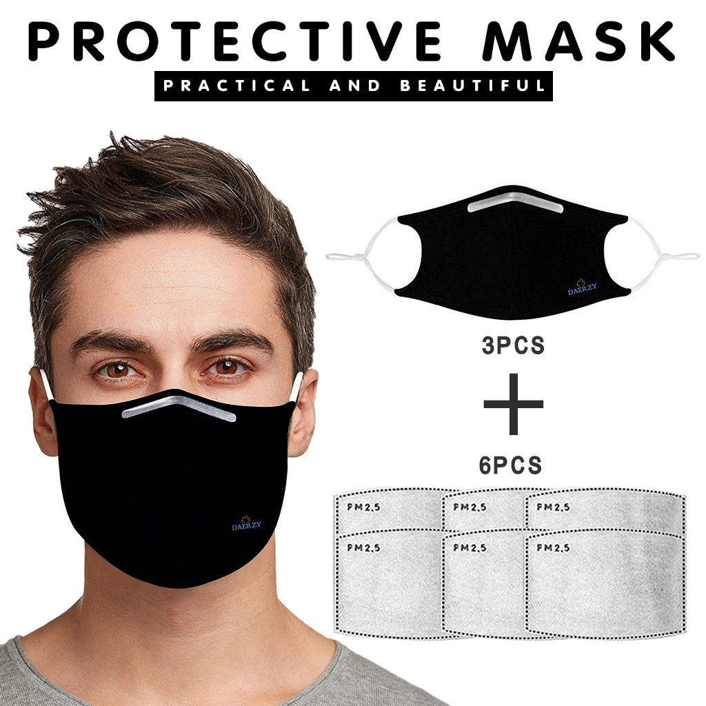 3 Pcs Washable Mouth Maske For Face Dust Maske PM2.5 Filter Windproof Mouth Face Maske Riding Bacteria Keep Maske Protection