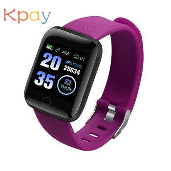 цена на Kpay Smart Watch 116 Plus Wristband Fitness Blood Pressure Heart Rate Android Pedometer D13 Waterproof Sports Smart Watch Band