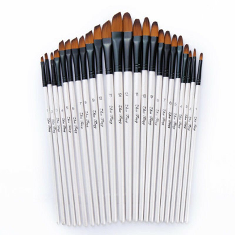 12pcs/set Artist Paint Brushes Set Acrylic Oil Watercolour Painting Craft Art Model Paint By Number Pen Brushes 2 Colors