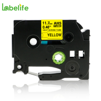 Labelife HSe-631 AHS-631   Black on Yellow Heat Shrink Tube Compatible with Brother Label Printers PT-E300 and PT-E500