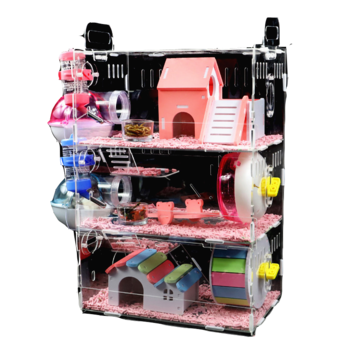 Hamster Baby Hamster Cage Acrylic Cage Golden Bear Three-layer Super Large Transparent Villa Supplies Toys
