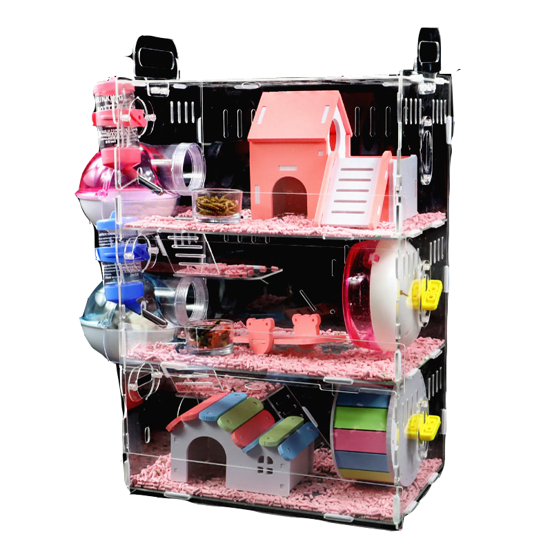 Hamster Baby  Cage Acrylic  Golden Bear Three-layer Super Large Transparent Villa Supplies Toys