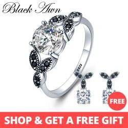 [BLACK AWN] 925 пробы Серебряное кольцо, ювелирные украшения, модные обручальные кольца для женщин, размер 5, 6, 7, 8, 9, 10, C035