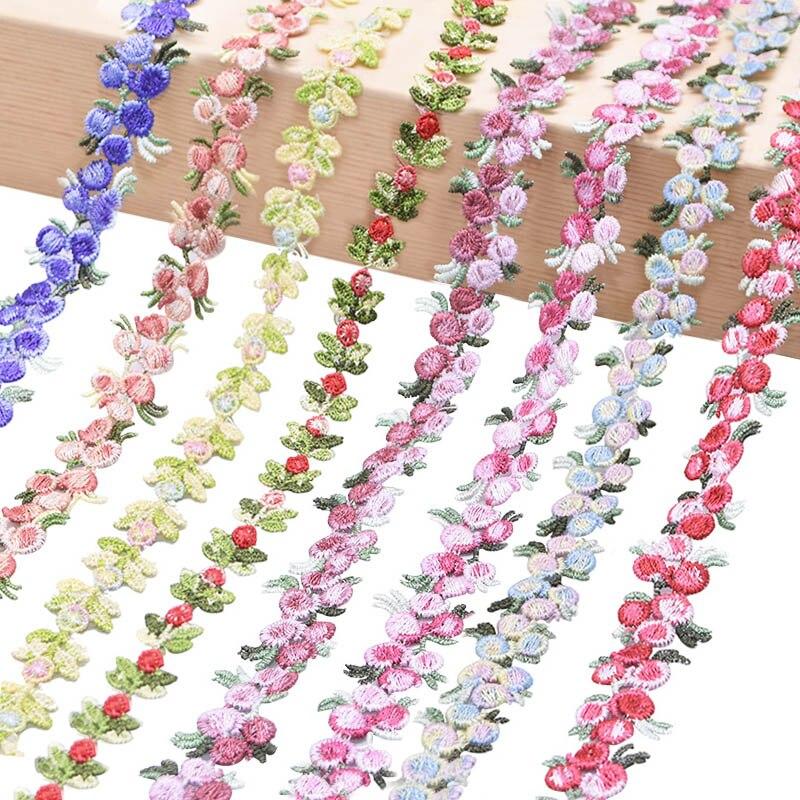 Тканевая кружевная лента с цветочной вышивкой, 2 ярда в комплекте, декоративная лента ручной работы для шитья, отделка из полиэстера