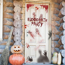 Halloween Horror Blood Handprint Scary Demon Door Wall Stickers Protable Removable PVC Wallpapers Home Decorations