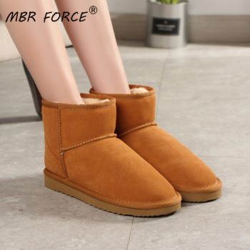 MBR FORCE 2020 Fashion High Quality Australia Winter Women warm Snow Boots Cow Split Leather Ankle Shoes Woman Big size US 3-12 2018 fashion natural cow suede split leather womans winter snow boots for women winter shoes warm fur high quality ankle boots