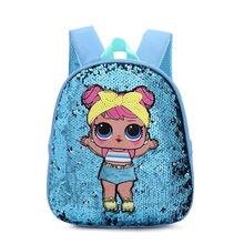 Venda quente lol surpresa bonecas padrão lantejoulas olhar menina menino mochila saco de escola do jardim infância necessário figuras ação crianças presente