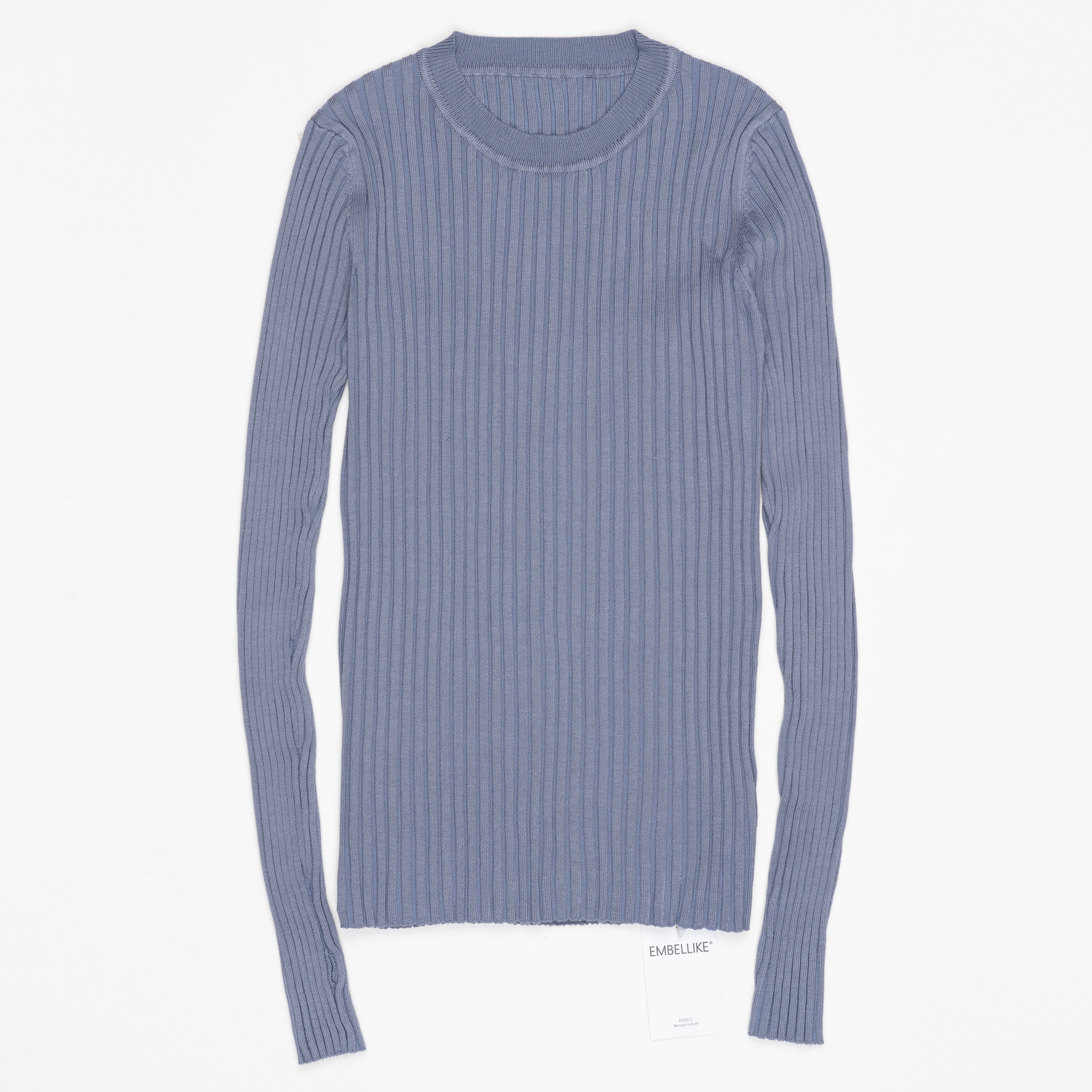 Women Sweater Pullover Basic Ribbed Sweaters Cotton Tops Knitted Solid Crew Neck With Thumb Hole 26
