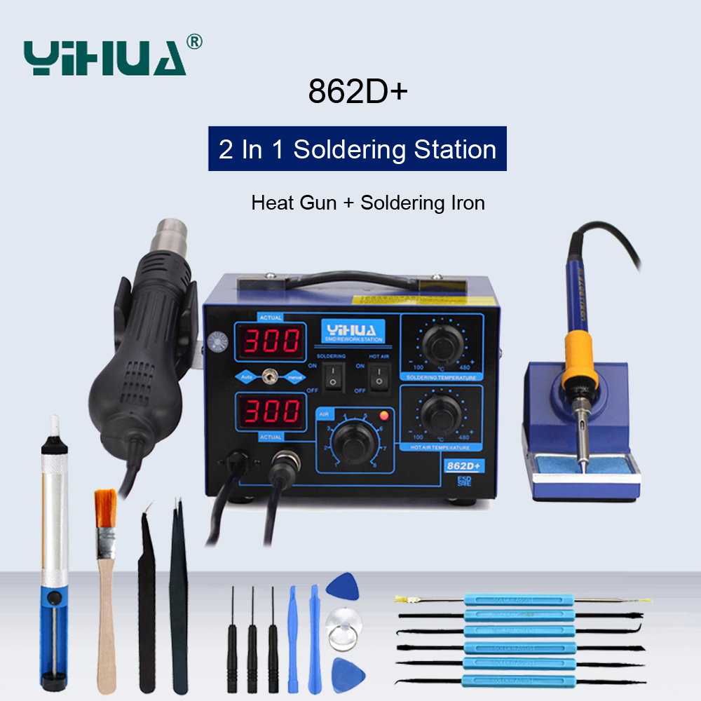 YIHUA 862D+ Hot Air Soldering Station 2 In 1 BGA Rework Station Soldering Iron Heat Gun For IC SMD Welding Desoldering Station