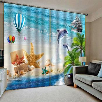 blue beach curtains Luxury Blackout 3D Window Curtains For Living Room Bedroom Decoration curtains