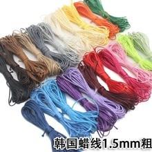 Corde de fil de coton en cire de cuir, 22 couleurs, 5 m/lot, pour bricolage, Bracelet tressé, collier, accessoire de bijoux, 1.5mm