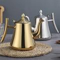 1000/1500 мл толстый чайник из нержавеющей стали золотой серебряный чайник с заваркой кофейная кастрюля для индукционной плиты чайный чайник д...