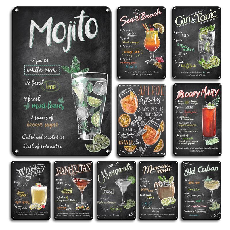 Vintage Gin & Tonic Tin Poster Wall Stickers Decoration Retro Cuba Mojito Cocktail Metal Plaque Sign Tiki Bar Kitchen Decor