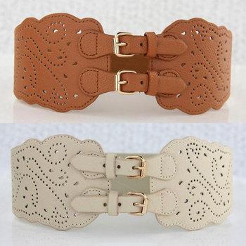 Clothes Accessories Leather Flower Women Waist Belt 65cm Wide Elastic For Girl Vintage Straps unique design Gift