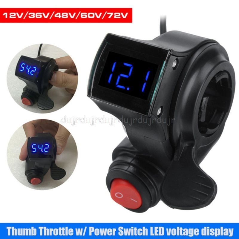 1 Set Electric Vehicle E-bike Voltage Display Switch Handle Finger Thumb Throttle Scooter With Power LED Display Handlebar Grips