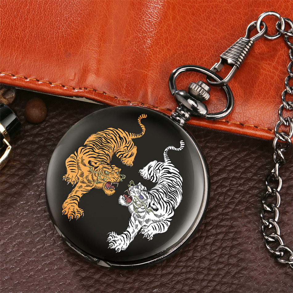 Fighting Double Tiger Design Smooth Black Pocket Watch Quartz Movement Arabic Numerals Pendant Pocket Clock Fob Chain
