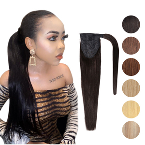Image 1 - MRSHAIR Clip in Ponytail Extensions Machine Remy Wrap Around Ponytails Real Human Hair Extensions for Black Women Brazilian Hair