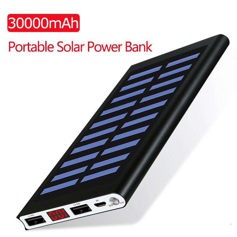 Banco de energia solar 30000mah bateria externa 2 usb led portátil powerbank carregador solar do telefone móvel para xiaomi iphone huawie