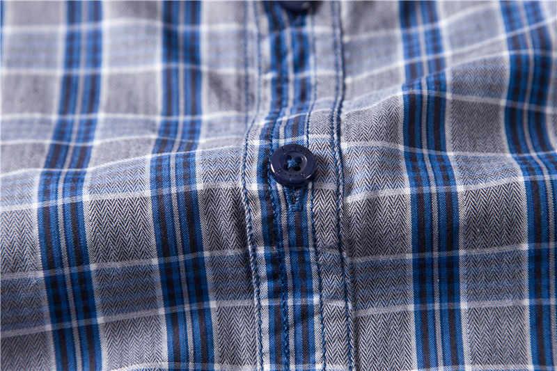 Musim Semi 2020 Baru 100% Kapas Strip Plaid Kemeja Pria Kasual Bisnis Sosial Baju Pria Lengan Panjang Berkualitas Mens Gaun kemeja