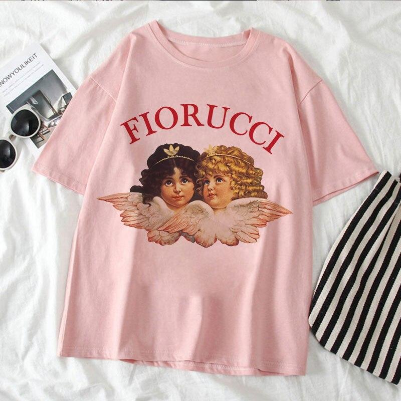 Футболка женская оверсайз с рисунком ангела, модная рубашка с рисунком Fiorucci в Корейском стиле, повседневная розовая футболка с графическим ...