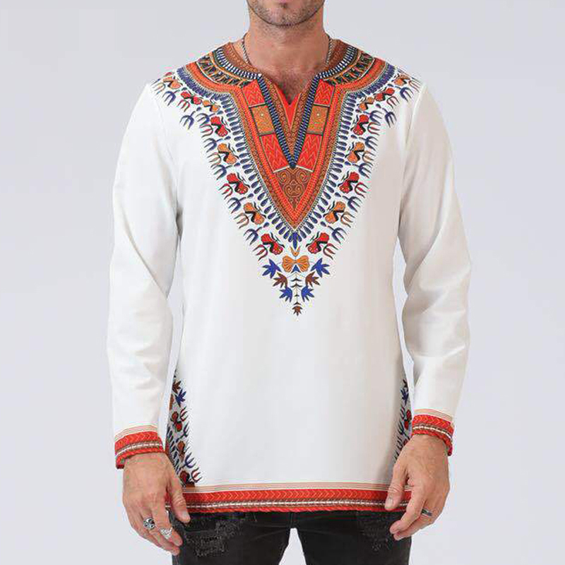 New Fashion Odeneho Wear Men's White Polished Cotton Top With Dashiki. African Clothing Male Strange T Shirt Long T Shirts T048