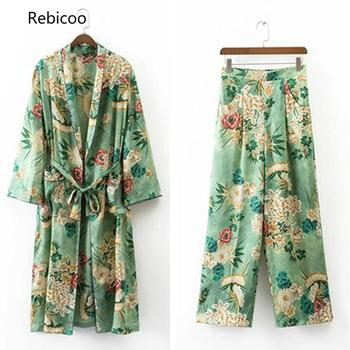 Women's Casual Floral Printed Blazer2 Pieces Set Suit V-Neck Wiped Kimono Loose Pajama Jacket +Trousers Two Piece  Suits pink random floral printed jacket