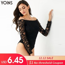 YOINS Lace Sexy Bodysuit Womens Jumpsuits 2019 Spring Autumn Long Sleeve Off Sho