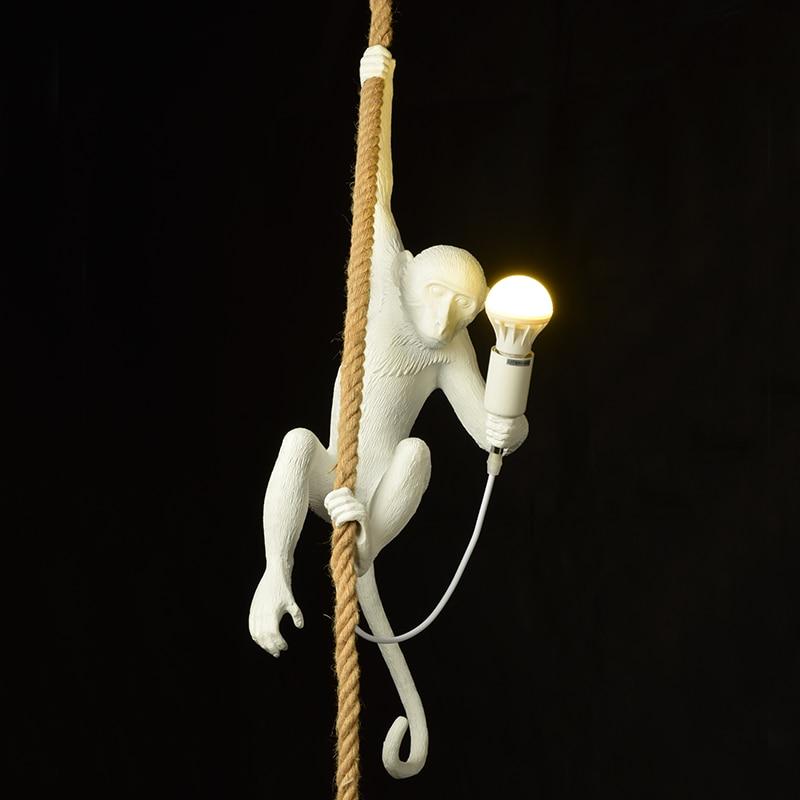Nordic Resin Creative Monkey Lamp Retro Industrial Pendant Lights Living Room Restaurant Lustre Pendente Bar Kitchen Hanglamp
