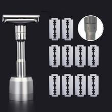 Safety Razor For Men Barber Straight Razors Men's Shaving Face Razor Blades Shaving Machine With Base Replaceable Shaver Blades