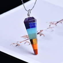 1PC Natural Crystal Quartz Mineral Jewelry Seven Chakra Stones Aura Point Healing Mens and Womens Necklaces DIY Gifts
