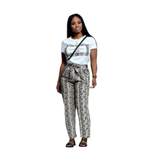 Adogirl women serpentine print two pieces sets short sleeve white t-shirt and long bandage snake skin pants casual suits