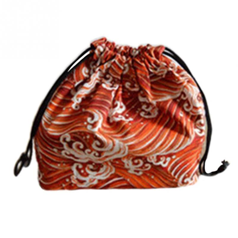 Picnic Drawstring Japanese Style School Cotton Linen Portable Lunch Bag Storage