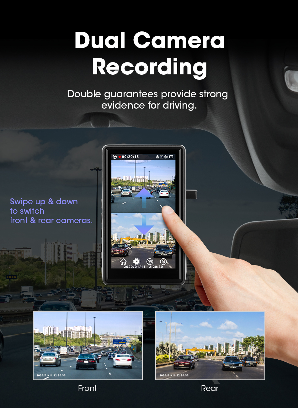 Видеорегистраторы для автомобилей вертикальной сенсорной Экран