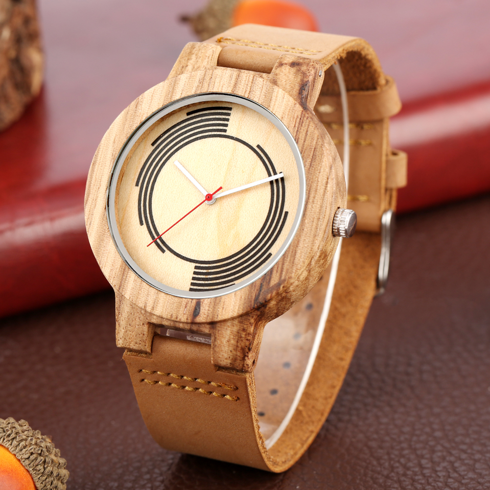 Wood Arts Spiral Geometry Design Watch Male Men's Clock Concise Dial Wooden Watches For Female Leather Band Bangle Watches