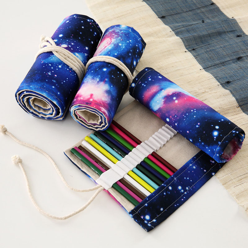 New 36/48/72 Holes Simple Environmental Protection Canvas Pencil Bag Wrap Roll Up Pencil Case Stationery Storage Bag Supplies