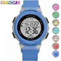 PANARS синие детские цифровые часы красочные светящиеся водонепроницаемые наручные часы студенческие Детские часы девочки мальчики силиконо...