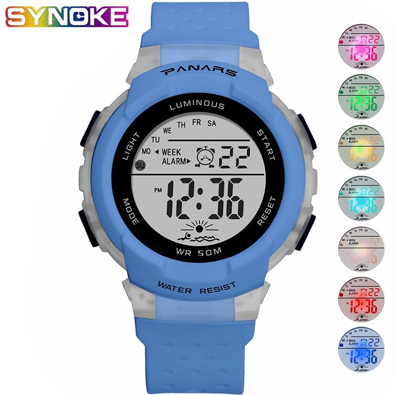PANARS Blue Kids Digital Watch Colorful Luminous Waterproof Wristwatch Student Children's Watch Girls Boys Silicone Clock