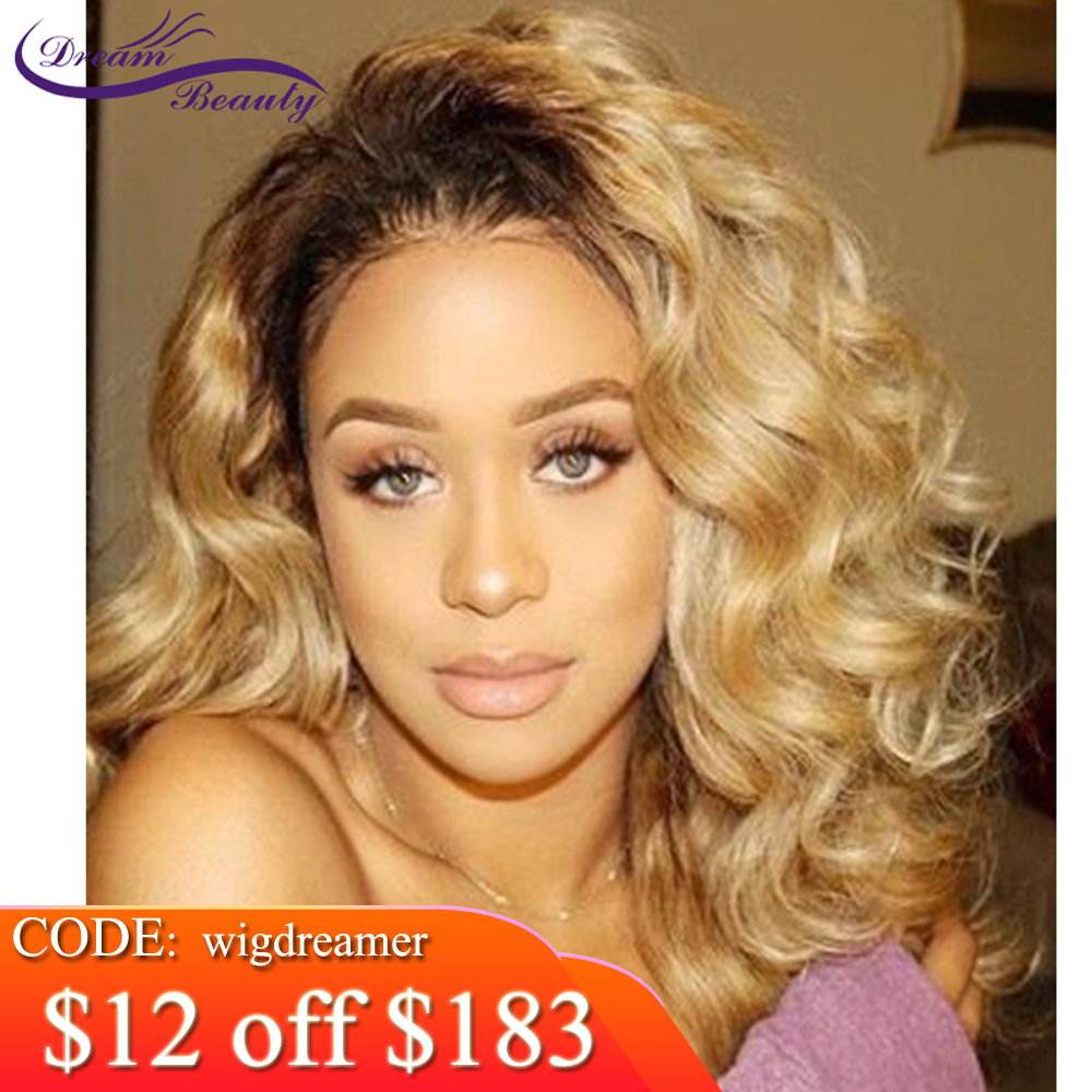Ombre 1b 27 Honey Blonde Wavy Lace Front Human Hair Wig Pre Plucked Bleached Knots Brazilian Remy Colored Lace Wig Dream Beauty